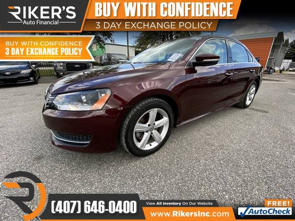 Photo $101mo - 2013 Volkswagen Passat 2.5 SE - 100 Approved - $101 (Rikers Auto Financial)