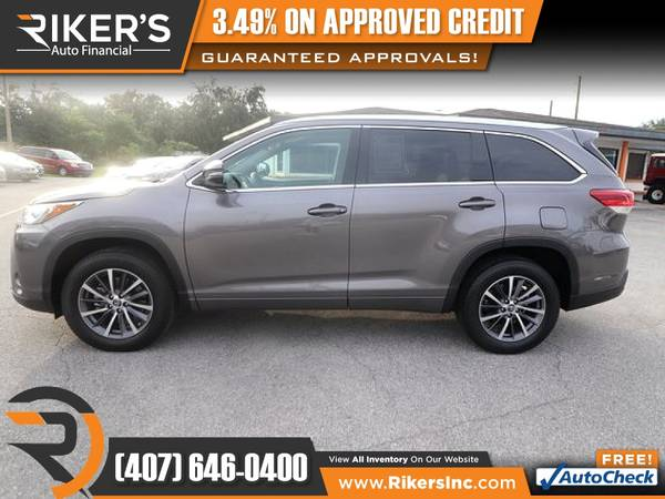 Photo $371mo - 2018 Toyota Highlander XLE - 100 Approved - $371 (Rikers Auto Financial)