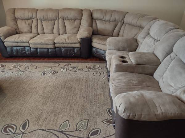 Photo Lane Furniture 3-Piece Sectional In two-tone brown and mocha - $1,000 (NE - off 90E near Baum Rd)