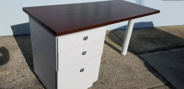 Photo 3-Drawer,Cherry and White Desk,Reversible Pedestal With Drawers - $120 (Clearwater)