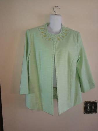 Photo Beautiful Women Alfred Dunner Lime Green Jacket Size 12 - $10 (Ta)