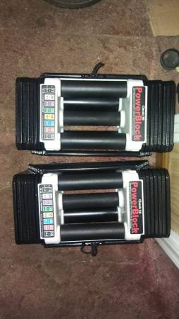 Photo Bench and 5-50 pound adjustable dumbbells by Powerblock - $295 (Ta)