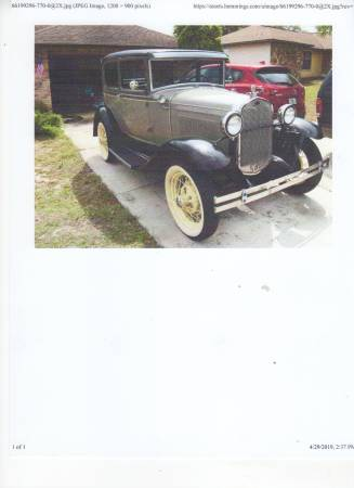 Photo For sale 1930 model A ford - $11900 (NEW PORT RICHEY FL)
