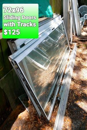 Photo SLIDING GLASS DOORS WITH TRACKS 839  80quot - $125 (Palm Harbor)