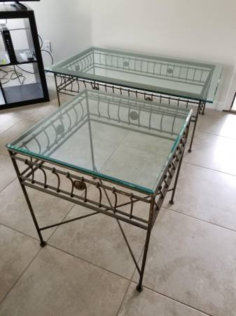 Photo matching Coffee and Side Tables Beveled Glass and Iron Frame - $70 (Palm Harbor)