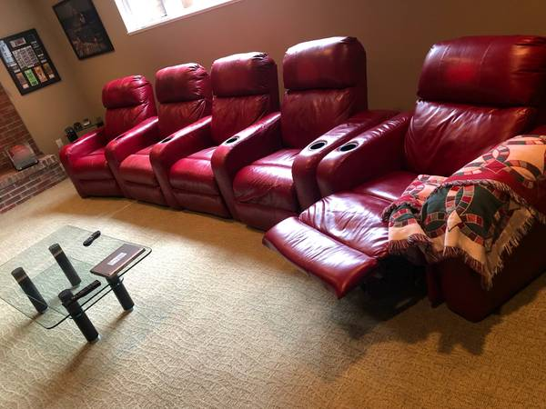 Photo Barcalounger 5 Seat Red Leather Power Recline Theator Seating Group - $1,800
