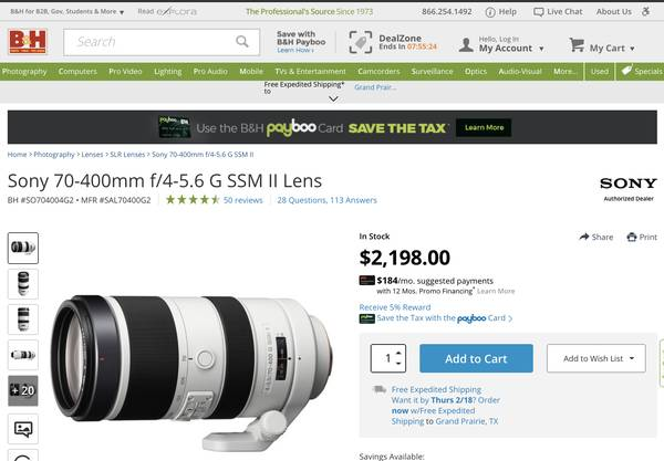 Photo New Sony 70-400 F4 Mark II Lens. (Retail $2,198). Asking - $1,270 (Sony E-mount adapter also available)