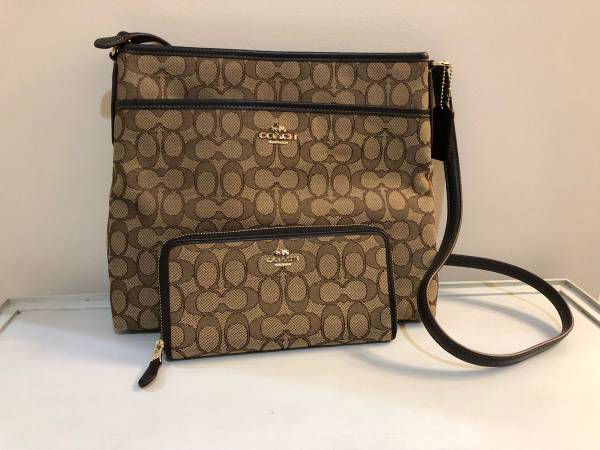 Photo Coach Signature Cross Body File Bag with Wallet - $75