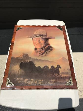 Photo John Wayne Picture With Stagecoach On Wood - Nice - $15 (S. Lafayette)