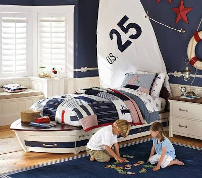 Photo Pottery barn kids Speedboat twin bed with trundle - $200 (West Lafayette)