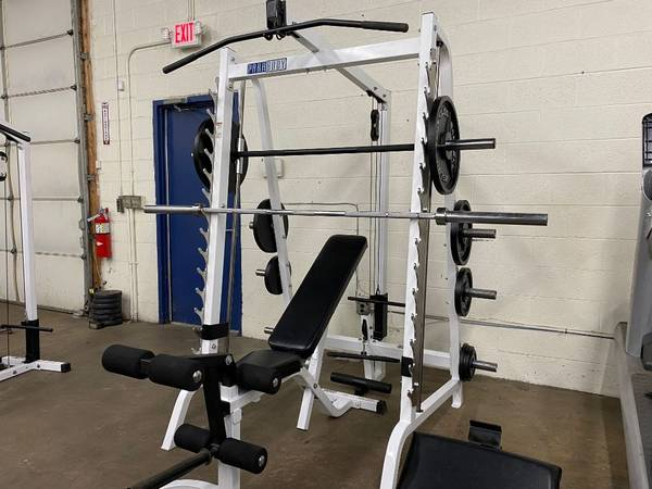Photo Heavy Duty Parabody Smith machine 300lb weights weight bench - $1295