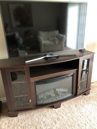 Photo Spectrafire Electric fireplace console TV stand with FREE 55 INCH TV - $400