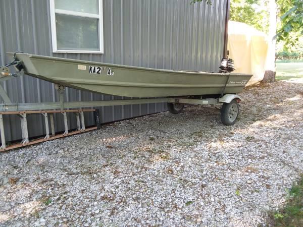 Photo 14 Ft Tracker jon boat, trailer, outboard - $1,400 (Linn Valley Lakes)