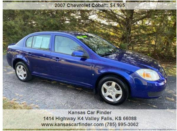 Photo 2007 CHEVY COBALT BLUE 54,000 MILES 2 OWNER 0 ACCIDENT SEDANgtLOOK - $4,995 (Valley Falls)