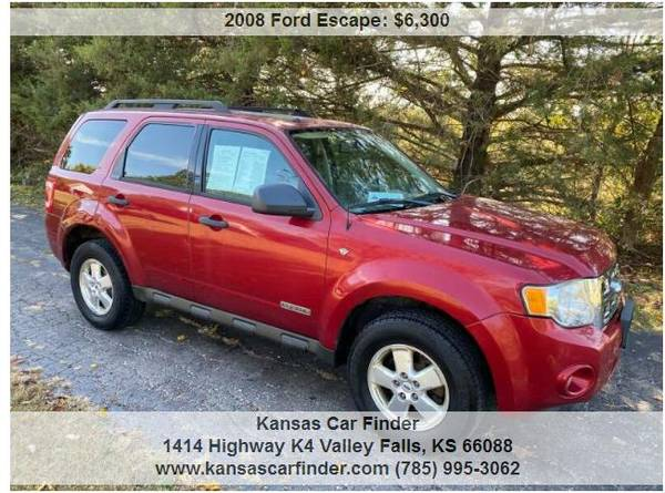 Photo 2008 FORD ESCAPE 4X4 WITH 83000 MILES RED, SUN-ROOF, POWER, MORE - $6,300 (Valley Falls)