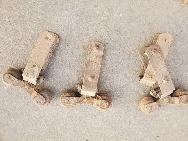 Photo 3 Vtg Antique Rustic Sliding Track Barn Door Rollers Wheels - $40 (Topeka)