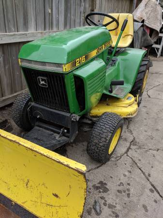 John Deere 216 Lawn Tractor Mower 38 Deck And Pushblade 785 Topeka Materials For Sale Topeka Ks Shoppok