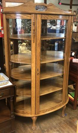 Photo Large Solid Wood Bow Front Curio Display Cabinet - $425 (Auburn, K.S.)