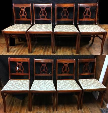 Photo Set 8 Antique Duncan Phyfe Mahogany Lyre Harp Back Dining Room Chairs - $250 (Auburn, K.S.)