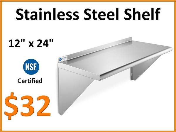 Photo 12quot x 24quot NSF Stainless Steel Commercial Wall Shelf - $32 (Tamarac)
