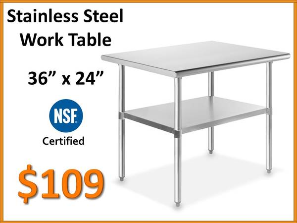 Photo 36quot x 24 Stainless Steel Work Table - NSF Certified Commercial Grade - $109 (Tamarac)