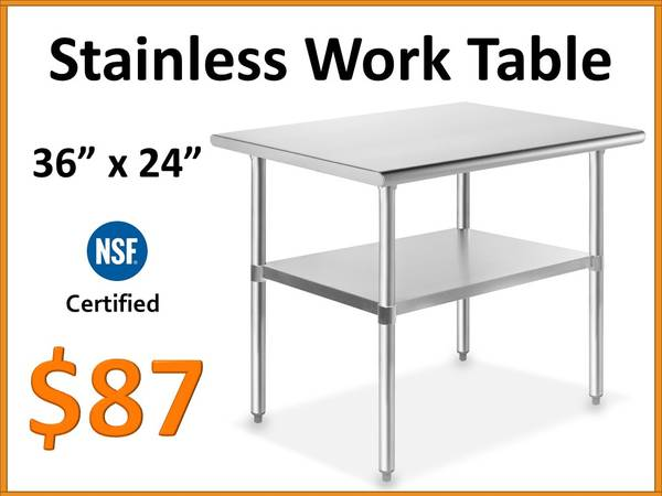 Photo 36quot x 24 Stainless Steel Work Table - NSF Certified Commercial Grade - $87 (Tamarac)
