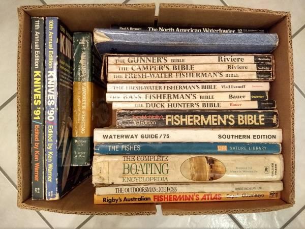 Photo Box of 17 Fishing, Boating, Hunting, Knife Books - $10 (Jupiter)