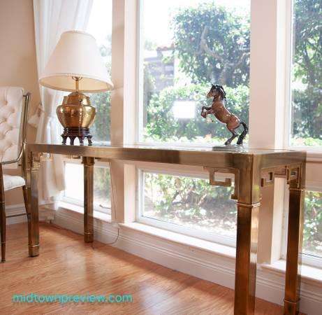 Photo Gilded Mastercraft Brass Sofa Console Table Glass Top - $500 (Vero Beach)