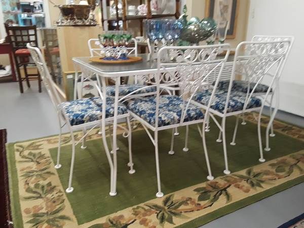 Photo Iron Salterini Rectangular Table with glass top and 6 Chairs - $625 (Vero Beach)