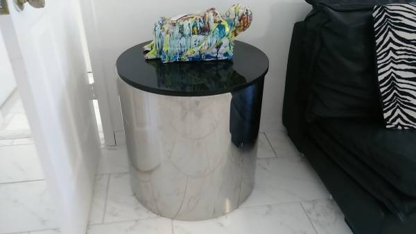 Photo Pair of Designer Stanley Steel Side Table Granite Top Table - $600 (Fort Pierce)