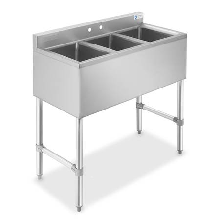 Photo Three 3 Compartment Stainless Steel Commercial Kitchen Bar Sink - $396 (Tamarac)