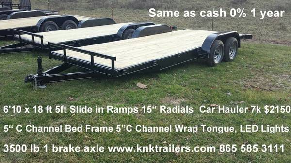 Photo 18 20 22 24 ft Car Hauler Trailer 7k Cargo 6 x 10 6 x 12 7 x 16 7x14 - $1 (Tazewell, TN Voted 1 Dealer, End Of Year Special Prices)