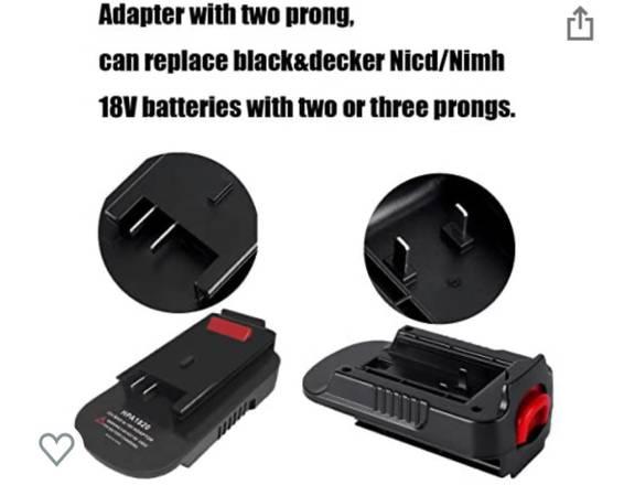 Photo Black and Decker adapter for battery 18 to 20 volt - $5 (Jonesborough)