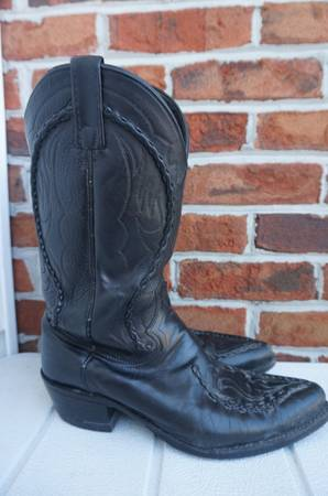 Photo Dan Post Black Leather Mens Western Cowboy Boots Size 9.5 - $30 (Kingsport)