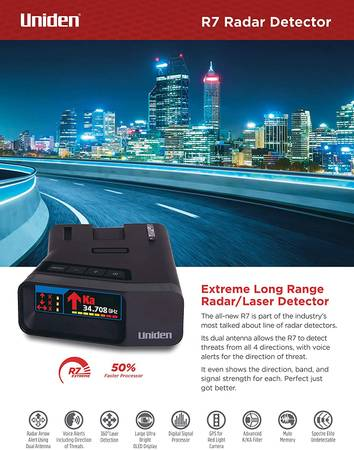 Photo Uniden R7 Radar Detector, Arrows and GPS - $400 (Johnson City)
