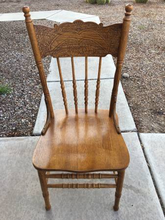 Photo 6 Victorian Style Oak Dining Chairs - $100 (Tucson)