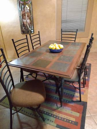 Photo 6 seat Dining Table  Tile-Wood - $150 (Central TUCSON)