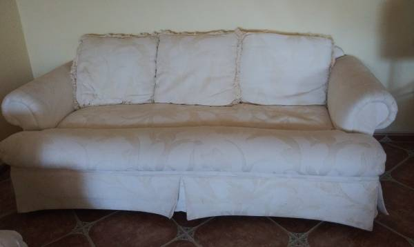 Photo Embossed White Upholstered Sofa - $250