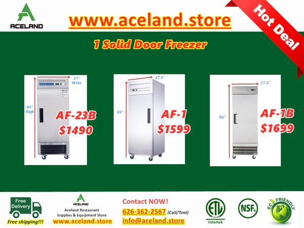 Photo NSF 123-door Commercial Stainless Steel Solid Door Reach-in Freezers - $1,490 (Free Shipping 100 New)