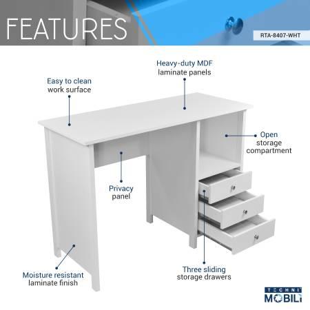 Photo New- Techni Mobili Contempo Desk with 3 Storage Drawers, White - $119 (tucson)