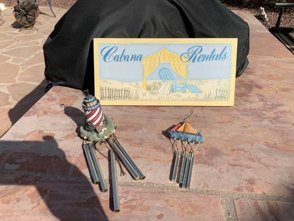Photo Outdoor Decor - Wood Cabana Sign, Lighthouse  Sailboat Wind Chimes - $15 (NW Tucson)