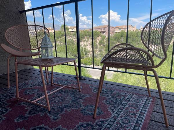 Photo Roosevelt 3 Piece Seating Group  Outdoor Rug  2 Metal and Glass Lanterns - $200 (Tucson)