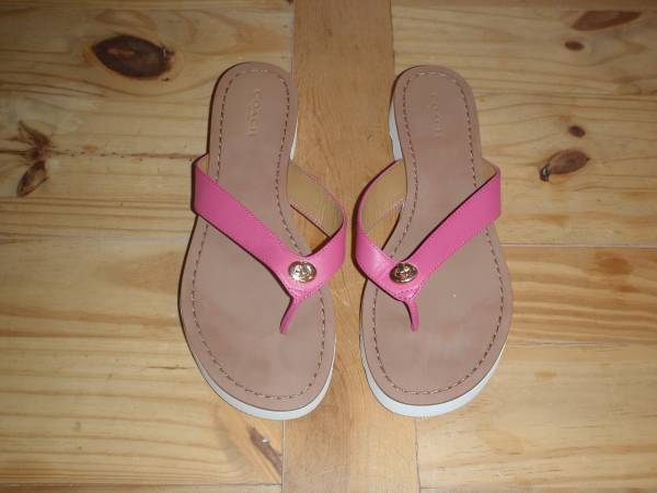 Photo Women39s Coach Shelly Sandals - Pink, Tan  White - Size 8 - $30 (Northeast)
