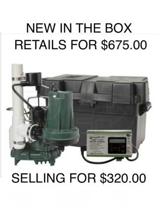 Photo BRAND NEW ZOELLER AQUANOT SUMP PUMP COMBO PRIMARY AND BACKUP SYSYTEM - $290 (Glenpool)