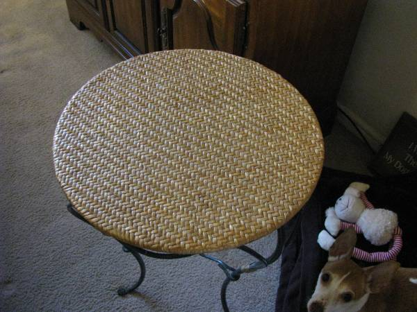 Photo Pier 1 Accent Table - Round Wicker Top - Verdigris Iron Base - $25 (Tulsa)
