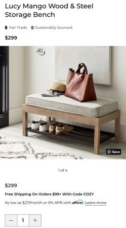 Photo Pottery Barn Lucy entry bench with cushion - $85 (Tulsa)