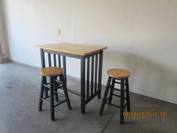 Breakfast Table and Two Bar Stools - $35 (Dover)