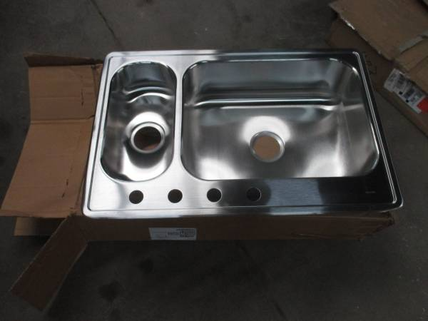 Photo Elkay Stainless Steel Double Bowl Top Mount Sink - $100