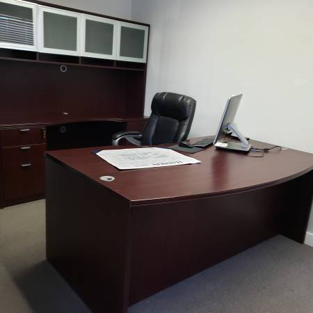 Photo 3 piece set- desk, back desk with hutch  bookscase - $800 (Twin FallsBoise)
