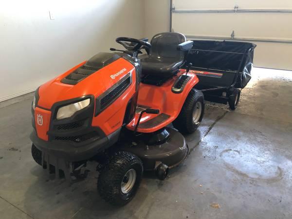 Photo Husqvarna 22 HP Riding Lawn Mower  Lawn Sweeper - $1,400 (Twin Falls)